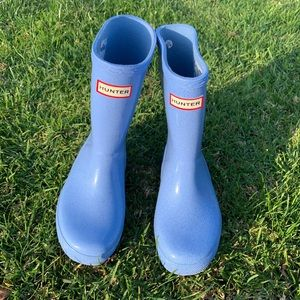 HUNTER 🔴 Blue shimmer Rain boots